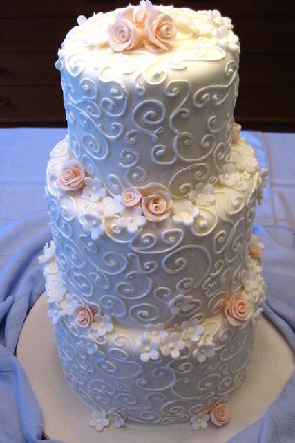 White Swirls Peach Flowers Wedding Cake Stephaniethebaker