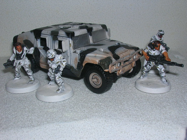 EM-4 Sci Fi troopers painted up as Mountain Troops - Set up the perimeter here!