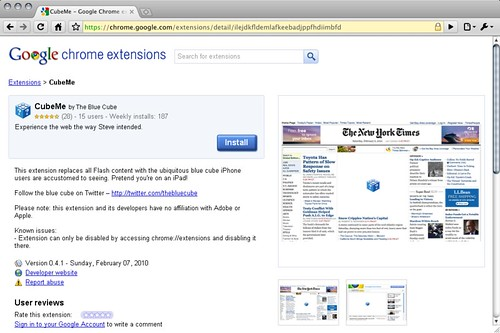 Google Chrome Extensions - CubeMe
