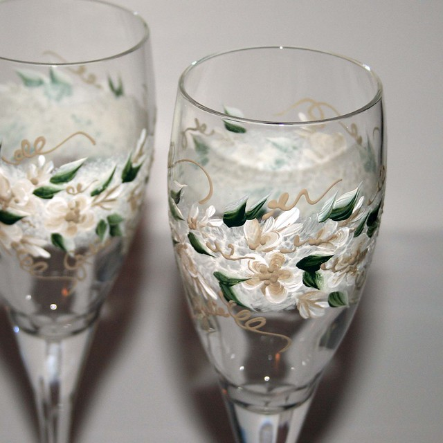 Custom Hand Painted Wedding Champagne Toasting Flutes Flickr Photo Sharing