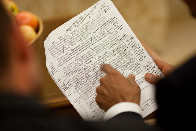 Pres. Obama's handwritten speech notes