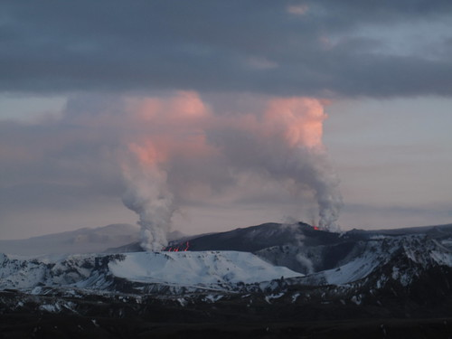 Volcanic eruption between Myrdalsjokull and Eyjafjallajokull glaciers