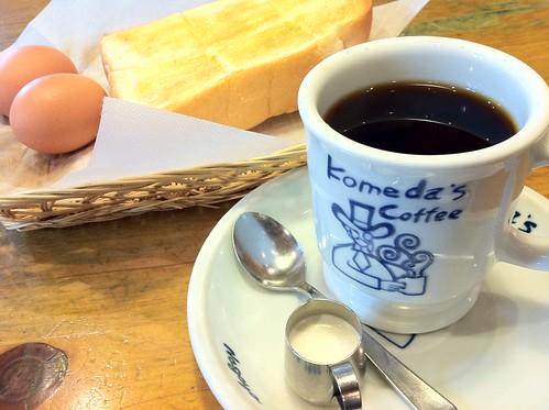 コメダ珈琲店「モーニングサービス」のトーストとゆで玉子