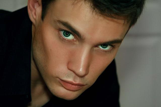 green eyes on man