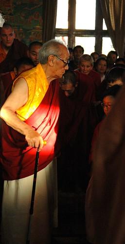 Dagchen Rinpoche leaving Tharlam Monastery of Tibetan Buddhism, students, Boudha, Kathmandu, Nepal by Wonderlane