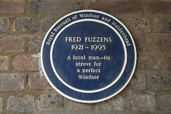 Photo of Fred Fuzzens blue plaque