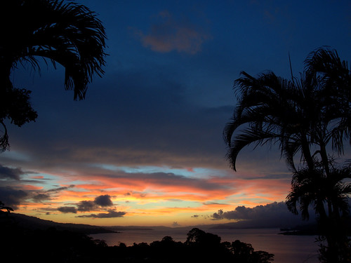travel pink blue light sunset red sky orange cloud costa lake tree water night clouds landscape volcano nikon costarica paradise dusk rica palm reservoir vr arenal dx d90 1685
