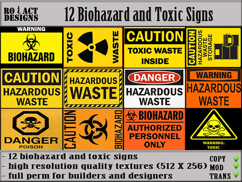 Biohazard and Toxic Signs Poster