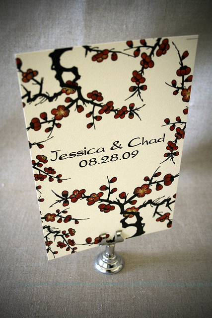 Red & Gold Plum Blossom Invitations by Paper Cut Industries