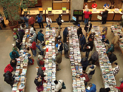 overhead view: BIG book sale this weekend at Pratt Library!