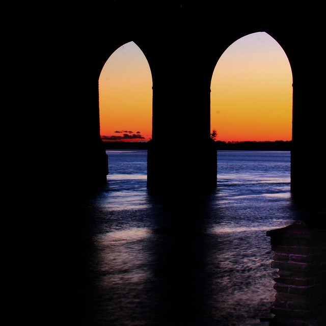 Through the arches, Sunset under the Runcorn rail bridge