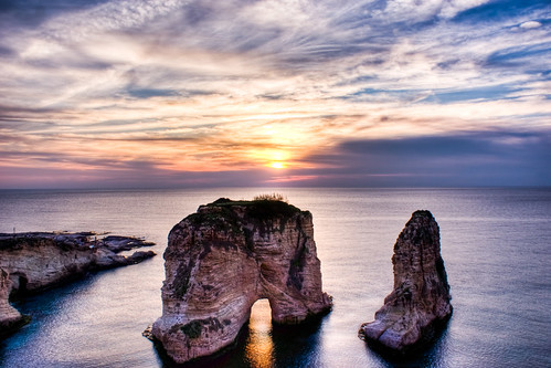 sunset sea sky lebanon sun water rock clouds alpha a200 beirut hdr rawshe صخرةالروشة rawsherock today´sbest روشة