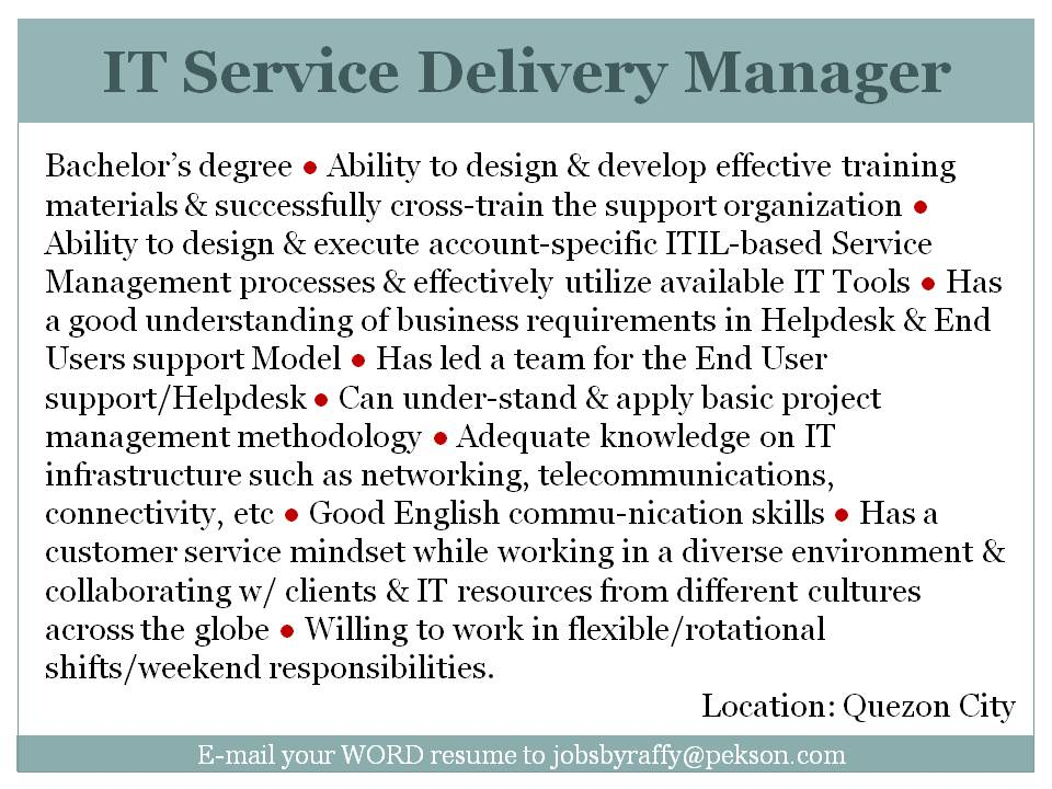 service delivery resume