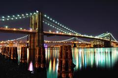 Brooklyn Bridge and Manhattan Bridge at Night, NYC