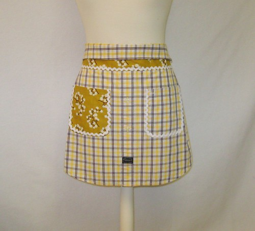 Upcycled Men's Shirt Apron - Yellow/Grey Plaid w/Collar and RicRac