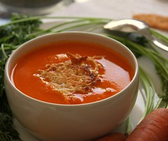 "Carrot Soup with Ginger and Lemon ""Orange Vel…"