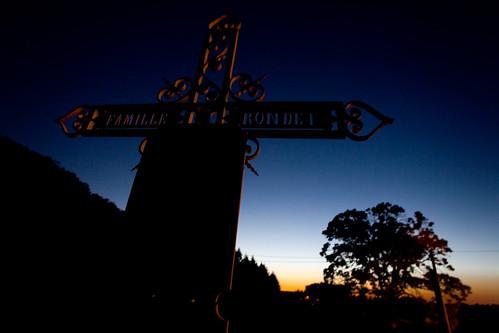 sunset france tree church graveyard europa europe cross religion nightlife morvan ozolles