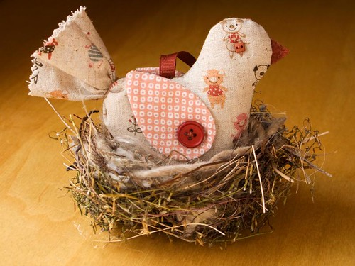 Linen Bird Ornament