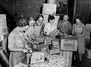 Red Cross workers packing Christmas presents for the Fighting Forces during World War II, 1942