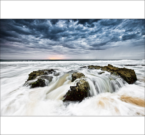 sea seascape water rock sunrise rocks wave australia qld queensland noosa wispy