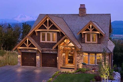 Mountain view timber frame home exterior flickr for Mountain view home plans