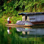 Zhenyuan, Guizhou Province, China  -  houseboat on a tributary of the Wuyang River