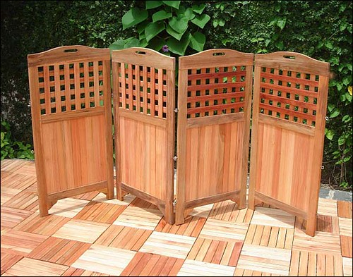 Plantation teak four panel privacy screen flickr photo for Stand alone outdoor privacy screen