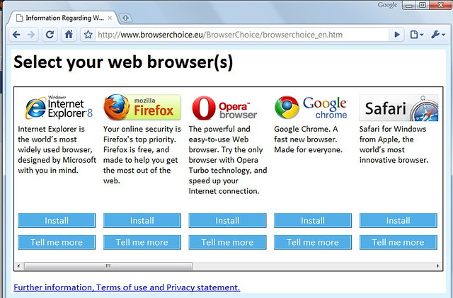 Different internet browsers