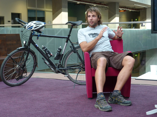 Record breaking cyclist Mark Beaumont and THE bike