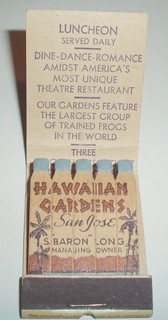 MATCHBOOK HAWAIIAN GARDENS SAN JOSE CALIF. #2