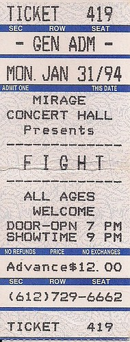 01/31/94 Fight/Voi Vod @ Minneapolis, MN (Ticket)