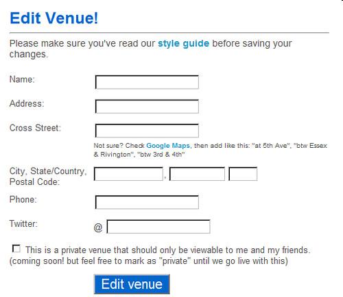 foursquareのEdit Venue画面