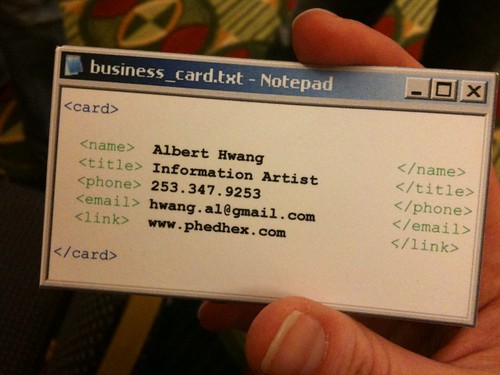 Albert Hwang's Business Card