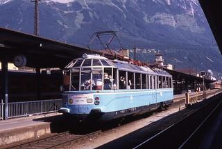 """23.07.85 Innsbruck Hbf DB 491.001 """"Gläserner Zug"""""""