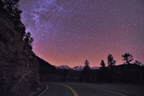 road sky nature silhouette night stars landscape star evening nikon highway colorado glow nps galaxy astrophotography co astronomy winding rmnp curve universe frontrange 2009 afterdark rockymountainnationalpark lightpollution milkyway d300 clff mummymountains tokina1116