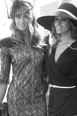 Jennifer Hawkins and Rebecca Twigley outside Myers Marquee - Derby Day 2009