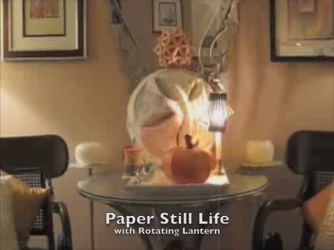 Paper Still Life with Rotating Lantern