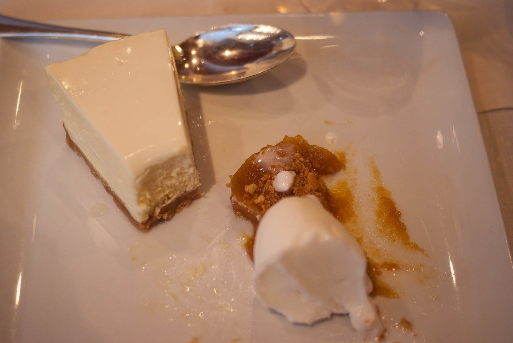 Spoons : Gateau au fromage, glace vanille (marmelade)