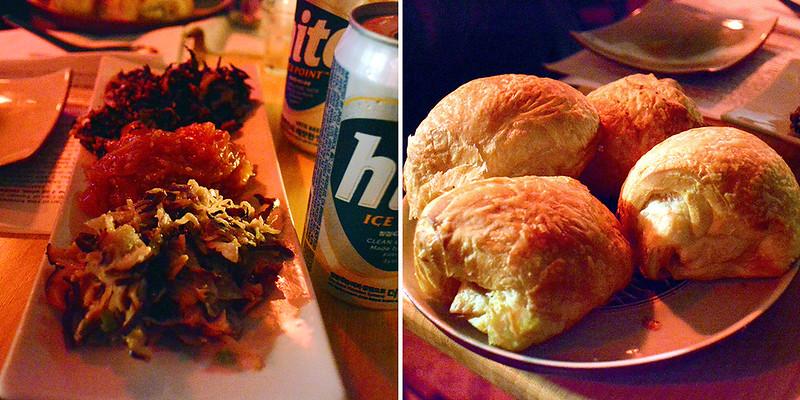 Tanuki Trio Salad and Kimchi Bacon Blue Cheese Buns