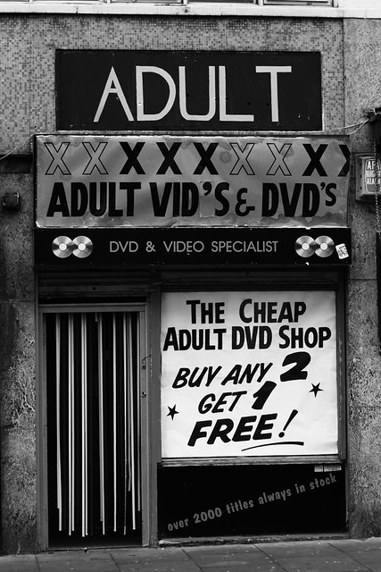 The Cheap Adult DVD Shop. Urban Scenery in central Manchester