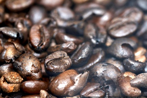 smoking roasted coffee beans & chaff