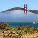 <p>A view from the sand dunes of Crissy Field towards Marin Headlands–all national park areas surrouding the Golden Gate–with the North Tower sticking out of the fog.<br /> <br /> Native shrubs such as Beach Yarrow and Purple Lupins are reclaiming the dune system, waiting for the water from fog drip or rain to soak up humidity.<br /> <br /> The autumn fog makes this picture magic...</p>