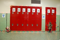 wall, red, locker,