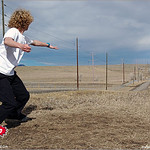 Carl Spencer gets ready for lift off at the 2005 Ice Bowl at West Arvada Disc Golf Course.