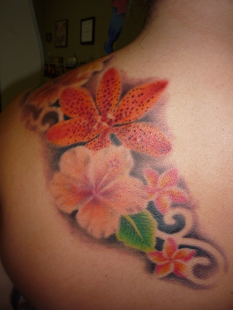 Flower tattoo, Hibiscus Tattoo, Plumeria tattoo,