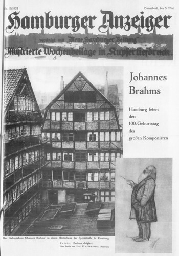 "Hamburger Anzeiger, 6.5.1933, Supplement ""Johannes Brahms"" celebrating his 100th birthday."