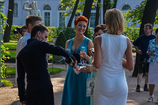 Wedding reception in a park in central Saint Petersburg, Russia