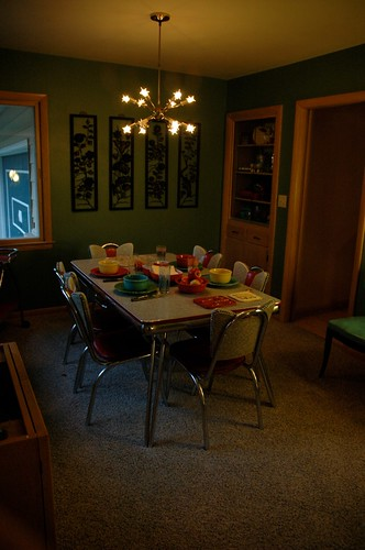 Chrome Table, Fiestaware, Sputnik Lamp & more