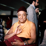 HH Dilgo Khyentse Rinpoche displaying the vitarka mudrā, Teaching, Giving Instruction, Reason, Preaching, Transmission of the Dharma mudra, after a visit to the Sakya Dharma Center, 1976, SeaTac Airport,  Seattle, Washington, USA