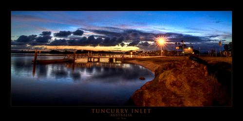 sunset water clouds boat twilight ramp jetty shore nsw inlet hdr buckley tuncurry wallislake adon
